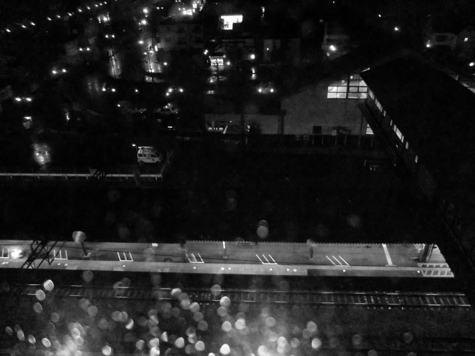 Vista do Hotel em Iwata durante a chuva.